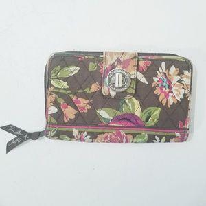 Vera Bradley Zipper Wallet Brown & Pink Floral